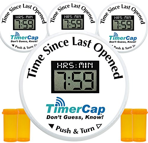 Pill Bottle Med Organizer By Timer Cap To Manage Medication In Vials Dispensed In For Safety  Pill Identification   Fits  Costco Riteaid Kroger Giant Publix Prescription Vials   Standard   Cr  Qty  4