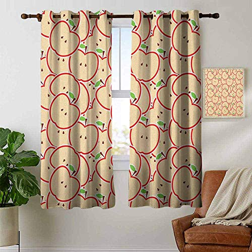 petpany Modern Farmhouse Country Curtains Apple,Healthy Refreshing Fruit from Orchard Abstract Cartoon Drawing Organic, Apple Green Beige Red,Design Drapes 2 Panels Bedroom Kitchen Curtains 42