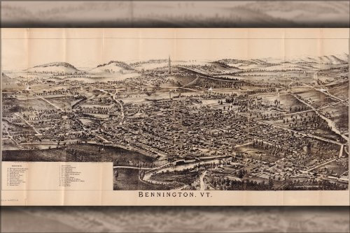 Poster Map Of Bennington Vermont 1905
