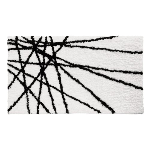 InterDesign Microfiber Abstract Bathroom Shower Accent Rug, 34 x 21, Black/White by InterDesign