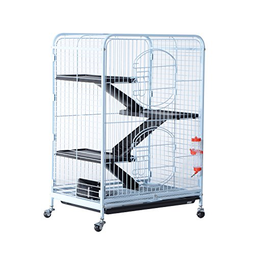 PawHut 37'' 4 Level Indoor Portable Pet Habitat Small Animal Cage Kit With Plastic Shelves And Ramps - White by PawHut (Image #1)