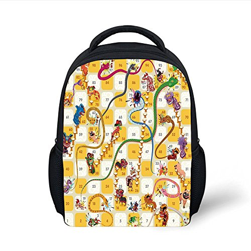 iPrint Kids School Backpack Board Game,Chinese New Year Concept Number Blocks Traditional Cultural Figures Oriental Decorative,Multicolor Plain Bookbag Travel Daypack