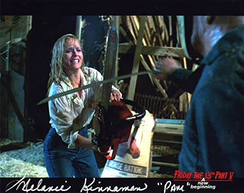 "Melanie Kinnaman Hand Signed 8x10 Photo Friday the 13th Part 5: A New Beginning""Pam with Chainsaw"" Original New Autograph Color Print Jason Voorhees Horror Movie (Official)"
