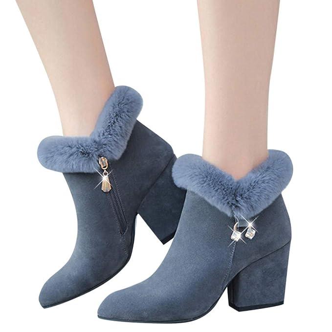 ❤ Botas de Mujer de Piel, Moda de la Borla de la Mujer Zapatos de tacón Alto Antideslizante Cremallera Botines de tacón Alto Absolute: Amazon.es: Ropa y ...