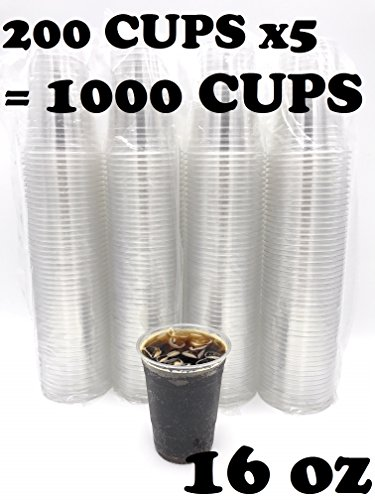 (1000 COUNT) Premium Plastic Disposable Cups - Premium 16 oz (ounces) Crystal Clear PET (No Lids) for Cold Drinks Iced Coffee Tea Juices Smoothies Slush Soda Cocktails Beer Sundae Kids Safe (16oz Cup) by Harvest Pack