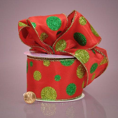 Glitter Dot Satin - Red and Green Glitter Polka Dots Satin Ribbon, 2-1/2