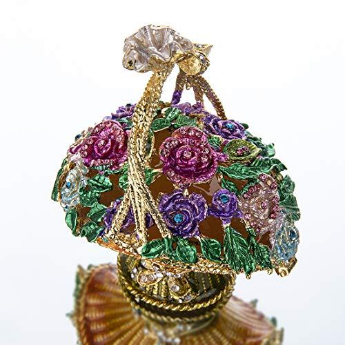 YUFENG Flowered Basket Pewter Figurine Box Crystal, Jewelry Box, Keepsake Gift - Enamelled Trinket Box
