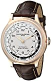 Image of Baume & Mercier Men's A10107 Capeland Rose Gold Automatic Watch with Brown Leather Band