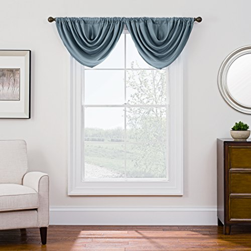 Style Decor Antique Satin Domain Rod Pocket Style Room Darkening Waterfall Window Valance, 36