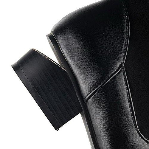 AgooLar Damen Spitz Zehe Hoch-Spitze Mittler Absatz Rein Blend-Materialien Stiefel Schwarz