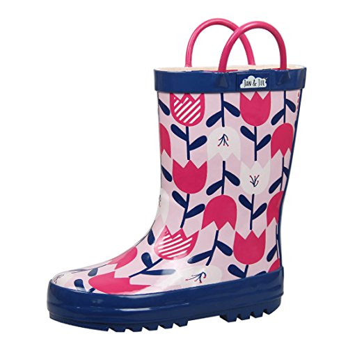 Natural Rubber Rain Boots Toddler Girls Kids (Toddler Size 6, Tulip flowers)