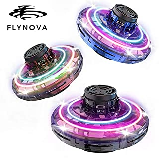 BASEIN FlyNova Flying Spinner, 2020 Upgraded Hand Operated Drones for Kids or Adults - UFO Flying Toy with 360° Rotating and Shinning LED Lights (3pcs)