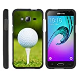 Samsung Galaxy J3 Case | Amp Prime | Express Prime | Galaxy Sol [Slim Duo] Fitted 2 Piece Hard Snap On Case on Black Sports and Games Design by TurtleArmor - Golf Ball Tee