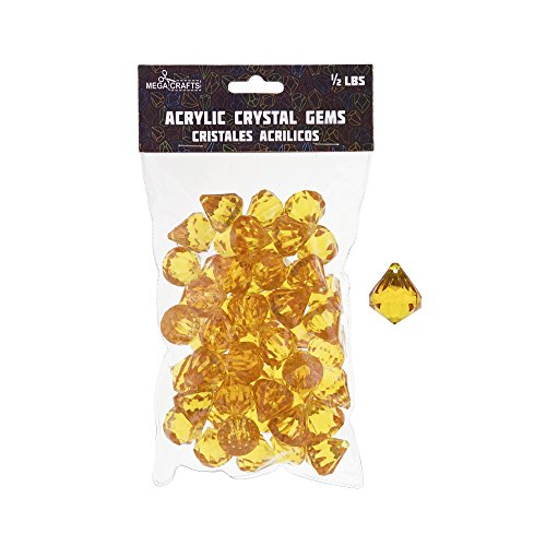 Mega Crafts 1/2 lb Acrylic Gemstones Orange | Plastic Glass Gems For Arts And Crafts, Vase Fillers And Table Scatters, Decoration Stones, Shiny Pebbles (Art Glass Stained Glass Chandelier)