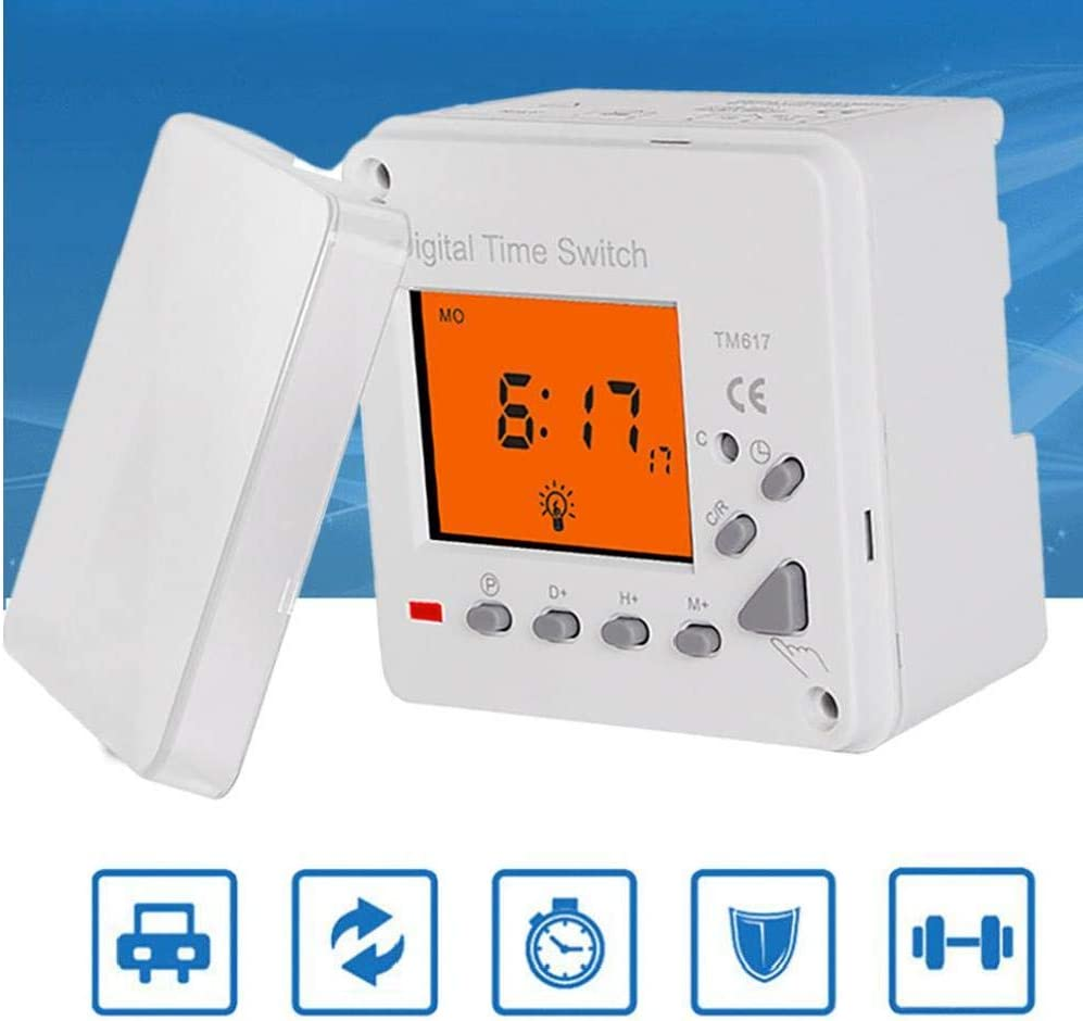Gracy Digital Electronic Timer 220V Switch Timer Backlight Large LCD Display TM617-2 Smart Control for Household Appliance Advertising Board Road Lamp Neon Light,Switch