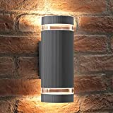 Auraglow Indoor/Outdoor Double Up & Down Wall Light - Silver - Warm White LED Bulbs Include