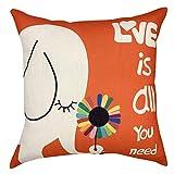 YOUR SMILE Kid's Series Cute Cartoon Animal Cotton Linen Sofa Home Decor Design Throw Pillow Case Cushion Covers Square 18x18 inch (Elephant 1, 18'' x 18'')