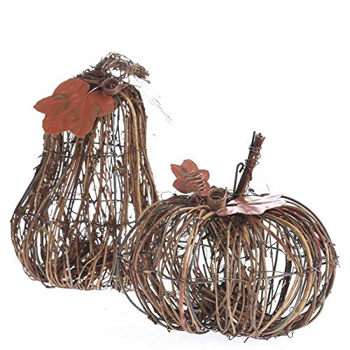 Factory Direct Craft Pair of Assorted Shape Embellished Grapevine Twig Pumpkin Gourds for Displaying, Crafting and Embellishing