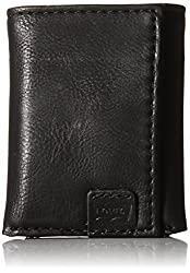 Levi's Men's Trifold Wallet with Levis Batwing Logo, Black, One Size