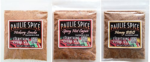 Paulie Spice : BBQ Seasoning and Rub Set : Hickory Smoke : Sweet Honey BBQ : Spicy Hot Cajun for: Ribs, Chicken, Meat, Steak, Pork, Beef, Fish, Dry, Rub, Spices, Grill, Grilling, Barbecue, Seasonings (Steak Sauce Gift Set)