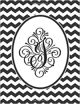amazon journal j monogram black and white chevron notebook