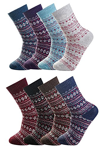 Luxina 8 Pairs Thick Wool Knitting Autumn Winter Socks for Women Striped Zag Zig Patterned