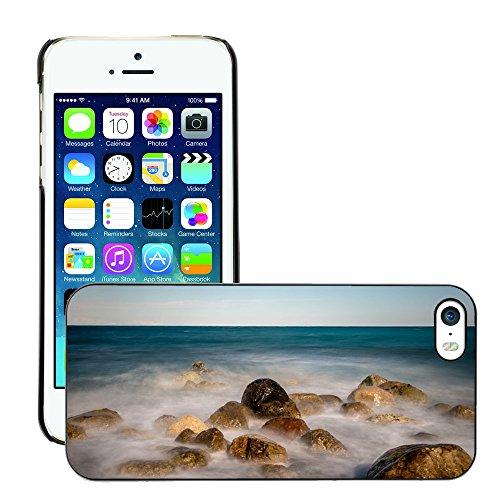 Stampato Modelli Hard plastica Custodie indietro Case Cover pelle protettiva Per // M00421619 Mer Pierres Vents Côte Pebble Beach // Apple iPhone 5 5S 5G