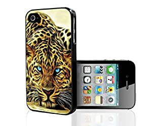 Painted Water Color Cheetah with Blue Eyes Hard Snap on Phone Case (iPhone 4/4s)
