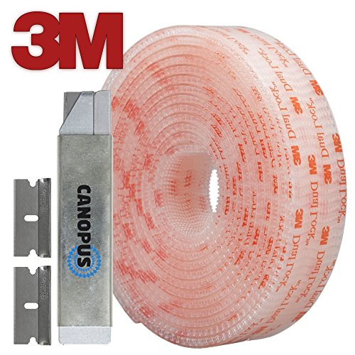 3M Dual Lock Reclosable Fastener SJ3560, Heavy Duty Industrial, Clear (1/2 in x 10 Ft) with Box Cutter (1PC) and Razor Replacement (2PCs) by Canopus Group (Fasteners Lock Dual Clear)