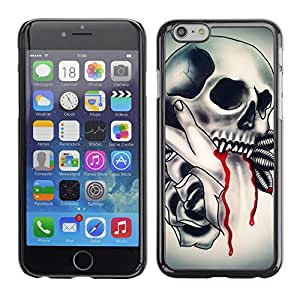 Eason Shop / Hard Slim Snap-On Case Cover Shell - Skull Vampire Blood Rose Feathers - For Apple Iphone 6 Plus 5.5