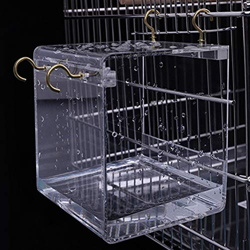 Alician Transparent Pet Bird Bath House with Hanging Hooks for Parrots Cockatiels Parakeets Large