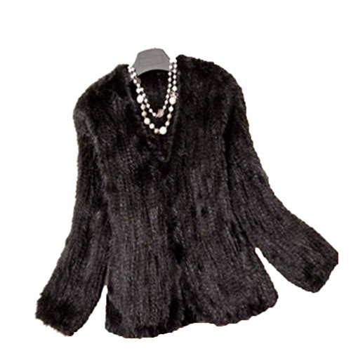 YR Lover Women's Warm Long Sleeves Knitted Natural Mink Fur Coat Jacket ()