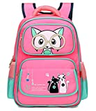 Girl Cat Backpack Child Cute Animal School Bag Bookbag Waterproof Casual Daypack (Pink)