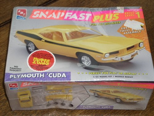 AMT Ertl 1:25 Model Kit #6785 - PLYMOUTH 'CUDA - SnapFast Plus - Skill Level 1 - Ages 8 + - No painting required!