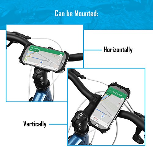 Bike PHONE MOUNT [ Size L ] Made of Durable Non-Slip Silicone. Mobile Cellphone Holder /Universal Cradle for All Bicycle Handlebars and 99% of Smartphones: iPhone X, 8, 7, 6, 5, Samsung etc. by TeamObsidian (Image #4)