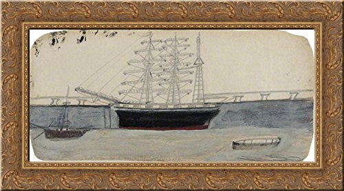 Ship Three Masted (Three-Masted Ship 24x14 Gold Ornate Wood Framed Canvas Art by Alfred Wallis)