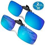 Clip-on Sunglasses, Splaks Unisex Polarized Frameless Rectangle Lens Flip Up Clip on Prescription Sunglasses Eyeglass, 2-Piece clip on glasses (Mirror