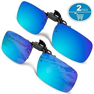 Clip-on Sunglasses, Splaks Unisex Polarized Frameless Rectangle Lens Flip Up Clip on Prescription Sunglasses Eyeglass, 2-Piece clip on glasses (Mirror Coating)