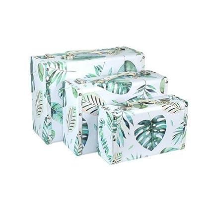 Set de 3 Maletas Decorativas Rectangulares de Madera Selvático. Cajas Multiusos. Accesorios y Bolsas