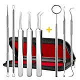 ElleSye 8 PACK Blackhead Remover Tweezer Kit & Dental Tools, Blackhead Tools for Comedone Extractor Whitehead Acne Blemish Pimple Remover, Dental Pick, Tartar Plaque Remover, Dental Set for Oral Care