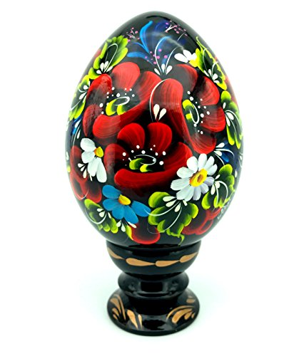 Hand Painted Easter Egg on Holder, Lacquer Ethnic Holiday Miniature Sounvenir Gift for Women, Mom, Grandma from Ukraine (Ostrich Eggs)