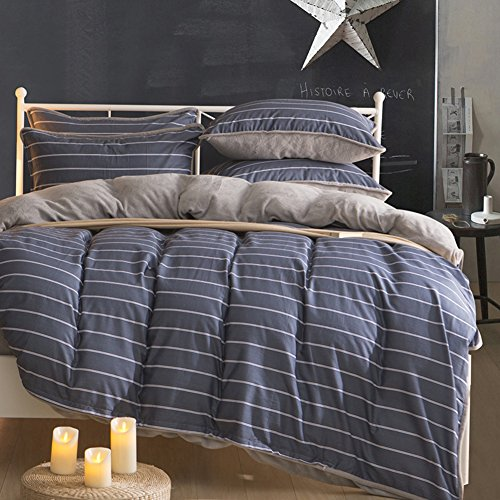 Beau High Class Cotton Flannel Comforter Set Stripe Lattice Design Modern  Bedding Sheets Duvet Cover Multi Color