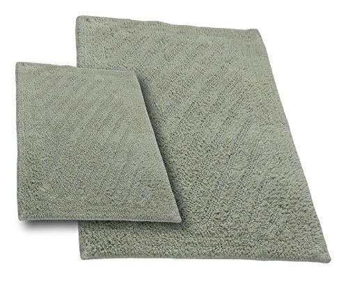 - Castle Hill 2-Piece 100-Percent Cotton Linear Reversible Bath Rug, Light SAGE, 17x24/21x34