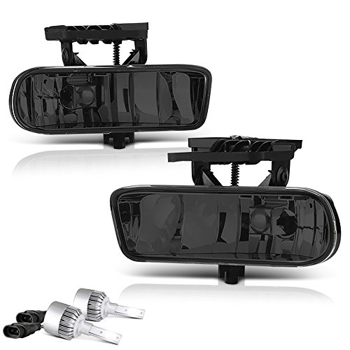 VIPMOTOZ Chrome Smoke OE-Style Front Fog Light Driving Lamp Assembly For 1999-2002 GMC Sierra 1500 2500 3500 & 2000-2006 Yukon XL - Built-In COB LED Bulbs, Driver & Passenger Side