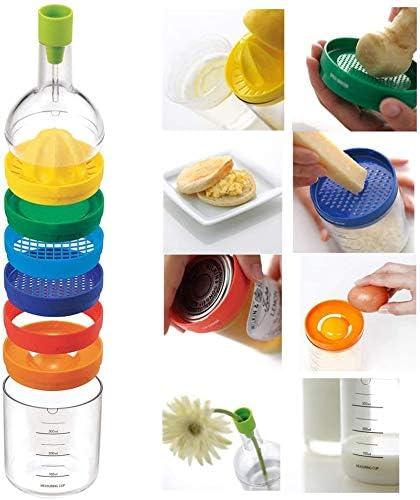 Trichter, Zitronenpresse, Gew/ürzreibe, Kartoffelstampfer, K/äsereibe, Eiertrenner, Dosen/öffner und Messbecher Mehrzweckfunktion K/üchenwerkzeugflasche 8 In 1 K/üchenutensilien