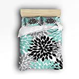 Queen Size Bedding Set- Multicolor Dahlia Pinnata Flower Duvet Cover Set Bedspread for Childrens/Kids/Teens/Adults, 4 Piece 100 % Cotton-Teal,Black,Grey