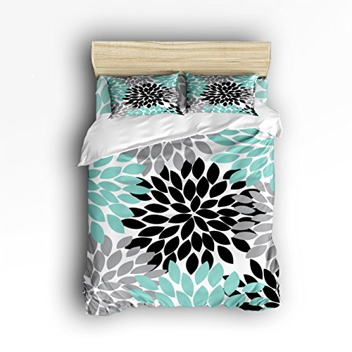 Queen Size Bedding Set- Multicolor Dahlia Pinnata Flower Duvet Cover Set Bedspread for Childrens/Kids/Teens/Adults, 4 Piece 100 % Cotton-Teal,Black,Grey by Vandarllin