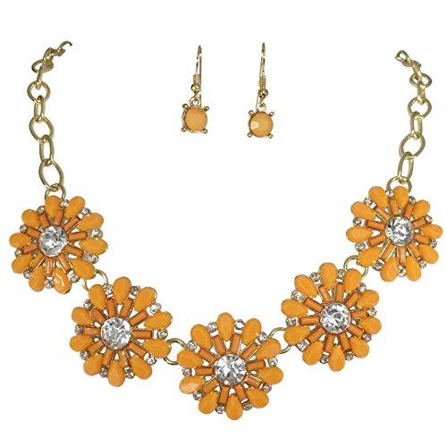 (Gypsy Jewels Fun 5 Flower Dot Bib Bubble Rhinestone Gold Tone Statement Necklace Earrings Set (Orange))