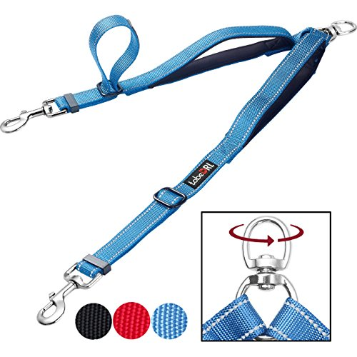 tobeDRI Double Dog Leash Coupler - 2 Padded Handles, Adjustable from 18 to 24 Inch - Heavy Duty Dual Dog Leash for 2 Dogs for Large Medium Small Dogs (Blue) -