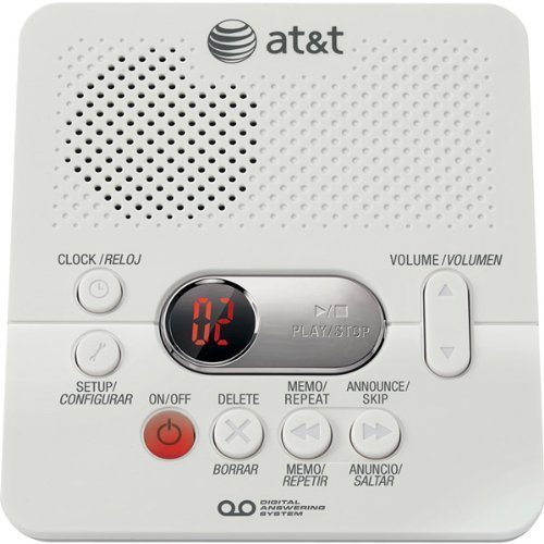 AT&T 1740 Digital Answering System with Time and Day Stamp, White by AT&T by AT&T